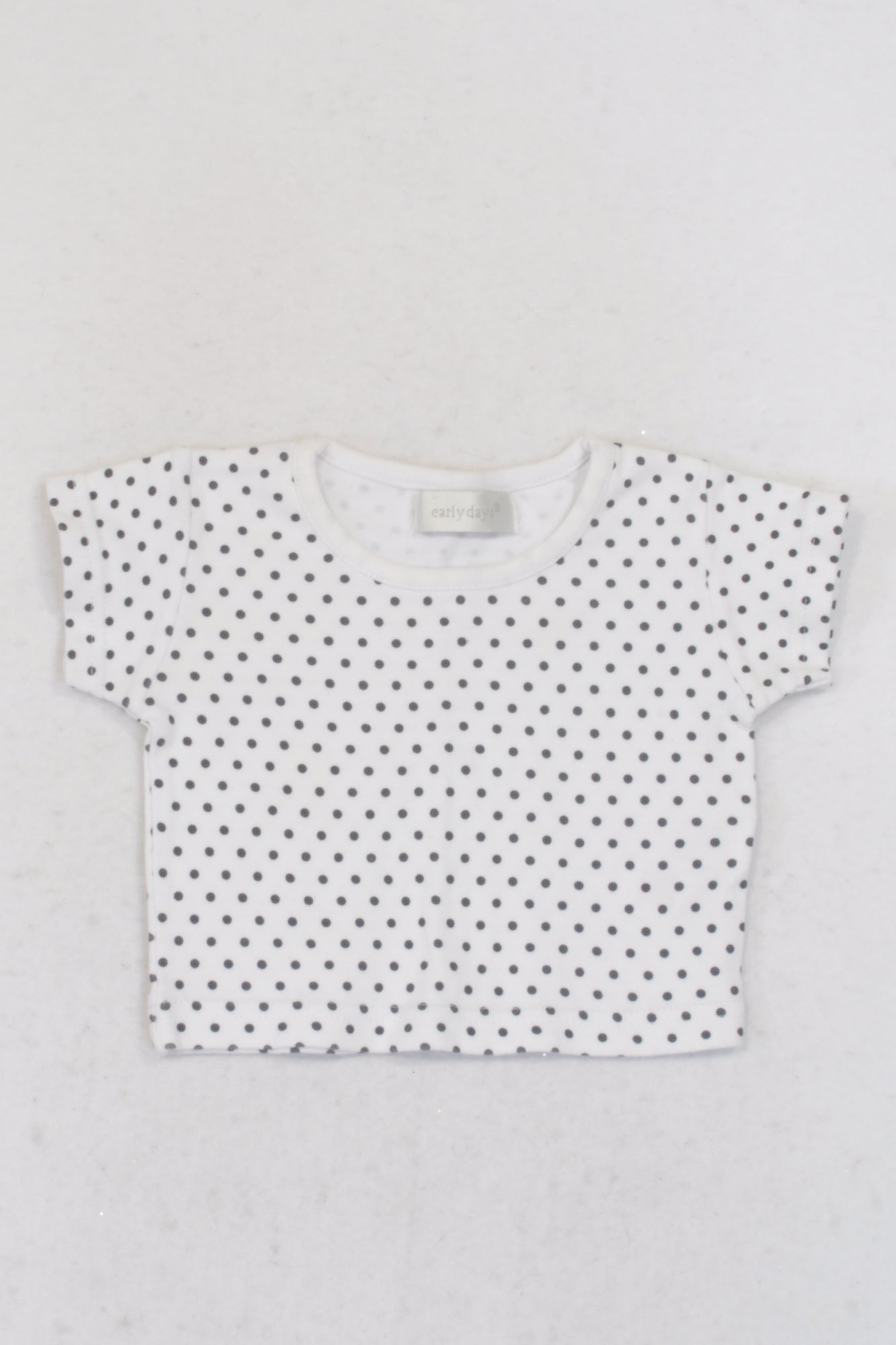 Early Days White & Navy Dotty T-shirt Girls 0-3 months