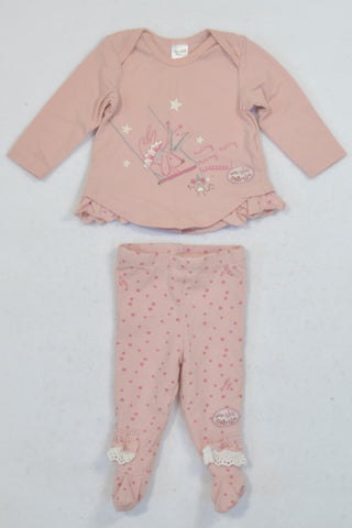 Naartjie Dusty Pink Doggy Outfit Girls N-B