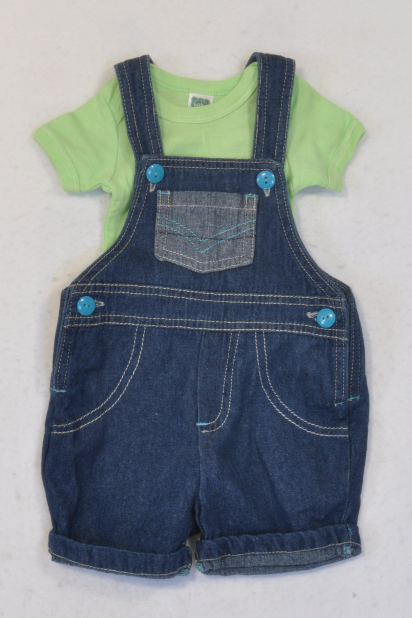 Ackermans Denim Shorts Dungarees & Green T-Shirt Set Boys 0-3 months