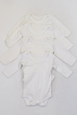Woolworths 4 Pack White Baby Grows Unisex N-B