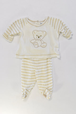 Brown Stripe Bear Outfit Unisex Preemie N-B