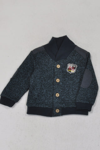 New Edgars Navy Heathered Knitted Cardigan Boys 6-9 months