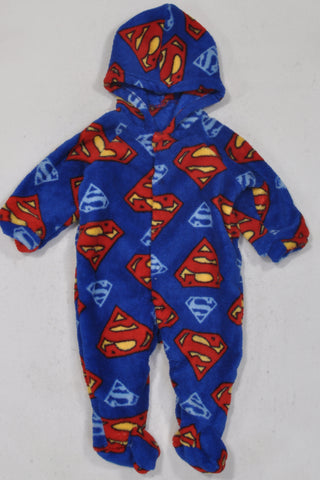 New Woolworths Blue Superbaby Fleece Onesie Boys 3-6 months
