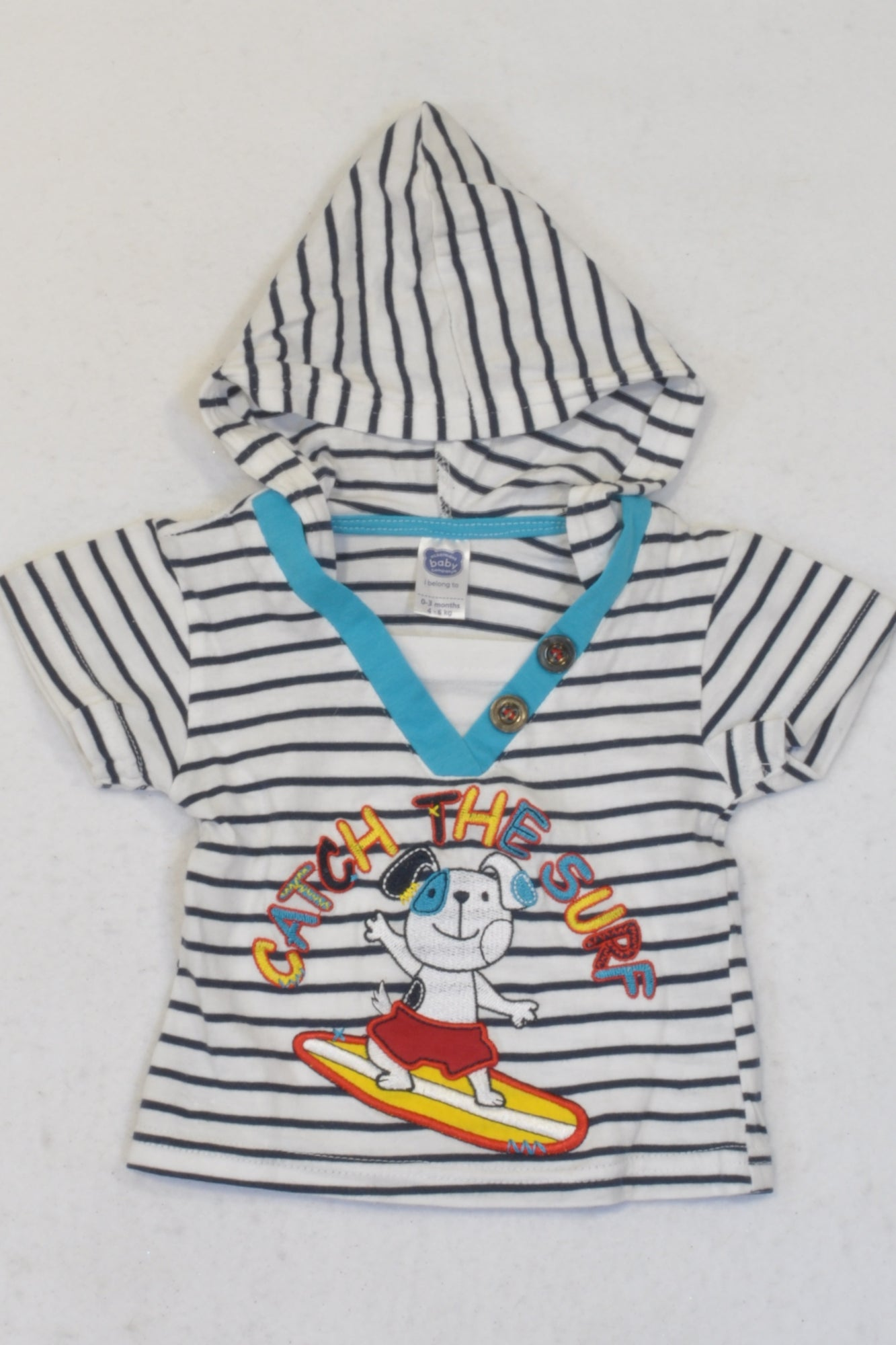 Ackermans White Striped Catch The Surf Hooded T-shirt Boys 0-3 months