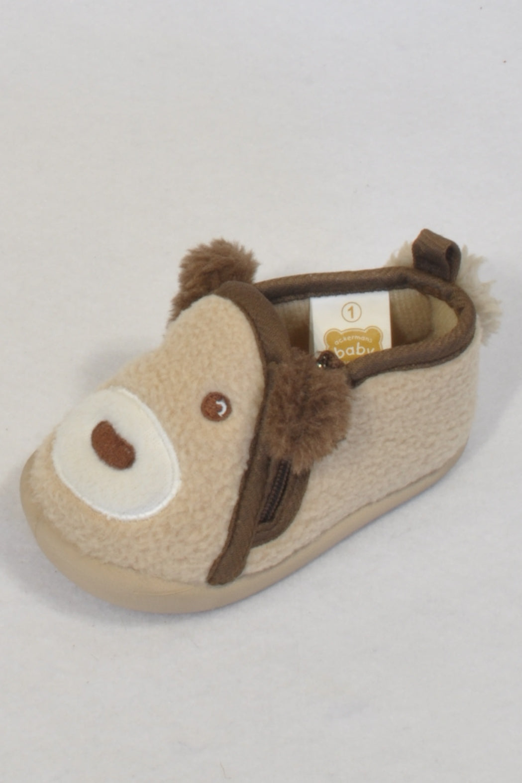 New Ackermans Size 1 Brown Fleece Bear Shoes Boys 3-6 months