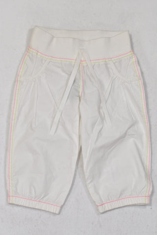 New Woolworths White Lightweight Banded Pants Girls 4-5 years