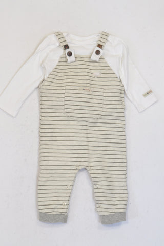 Naartjie White & Grey Striped Dungaree Outfit Unisex 6-12 months