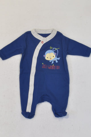 New Fisher Price Blue Monkey Onesie Boys N-B