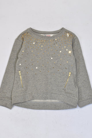 New H&M Grey Sequin Dip Hem Jersey Girls 4-6 years