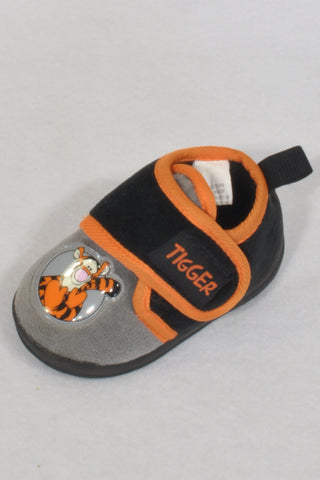 Disney Black & Orange Velcro Strap Size 2 Tigger Slippers Boys 6-9 months