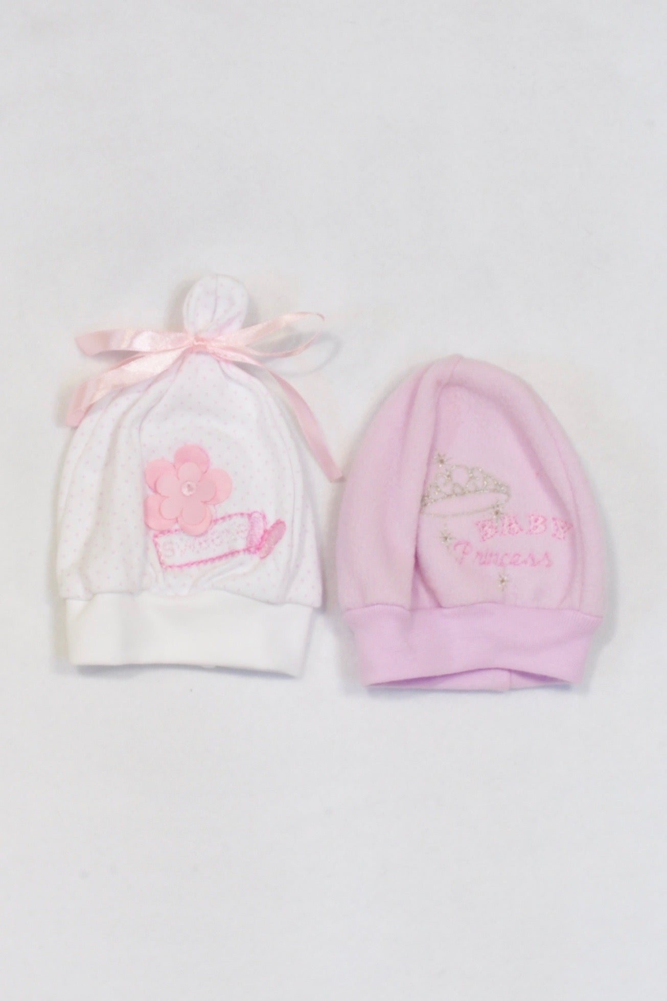 2 Pack Sweetie & Princess Beanies Girls 0-3 months