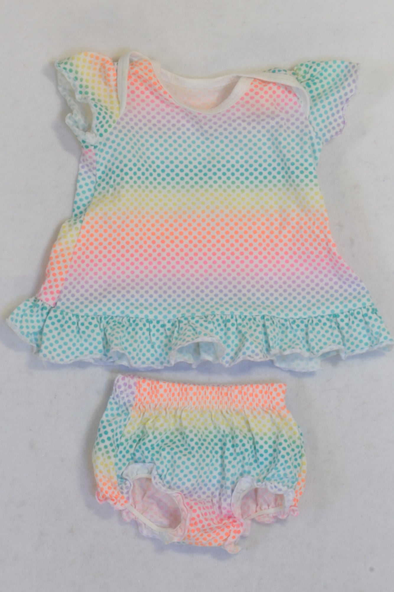 Woolworths  Rainbow Dress & Bloomers Outfit Girls N-B