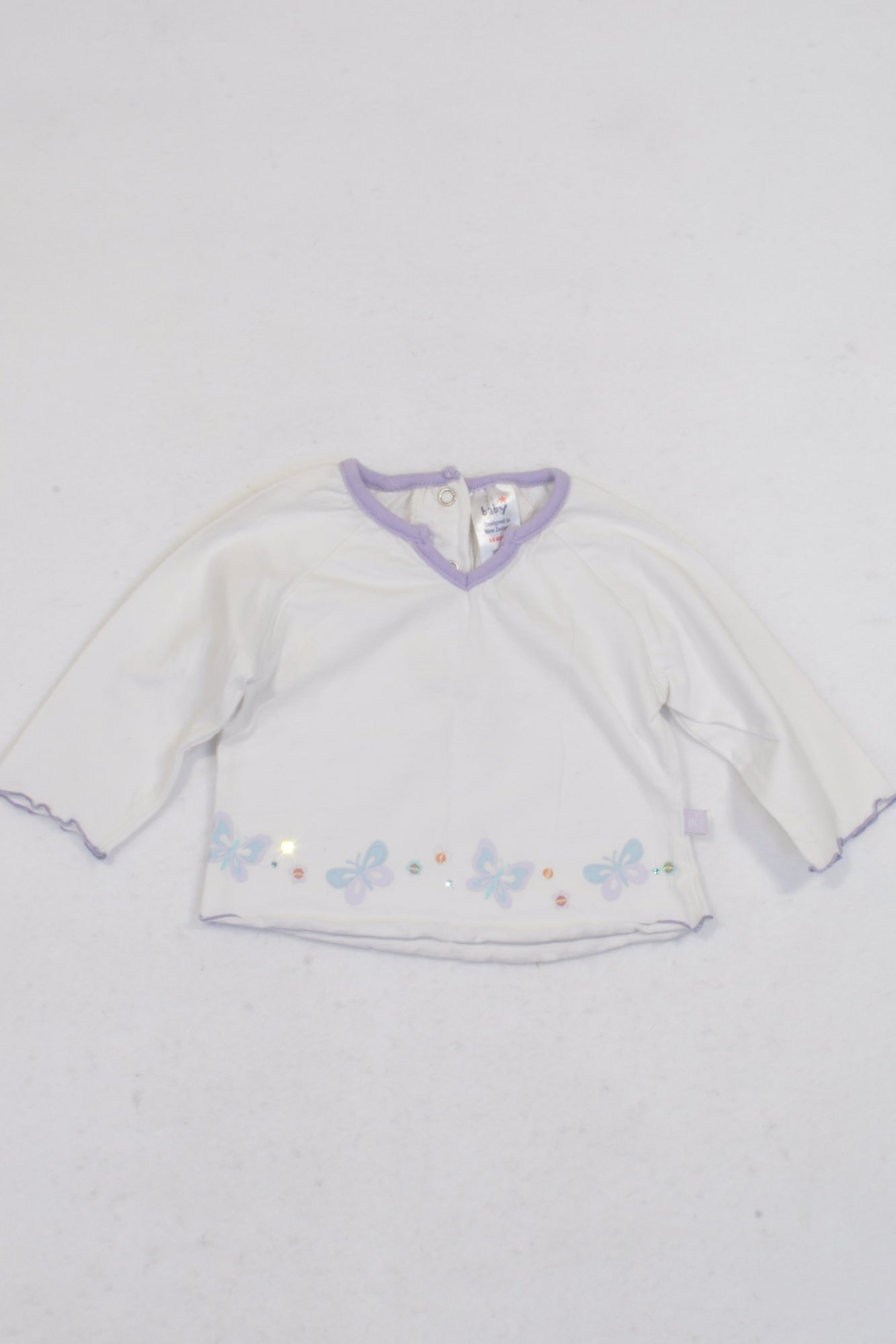 JK New Zealand White & Purple Trim Butterfly T-shirt Girls 3-6 months