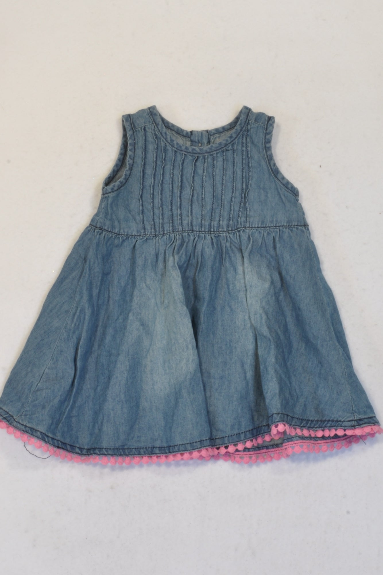 Woolworths Denim Pink Bobble Trim Dress Girls 3-6 months