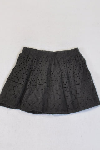H&M Charcoal Eyelet Skirt Girls 2-3 years