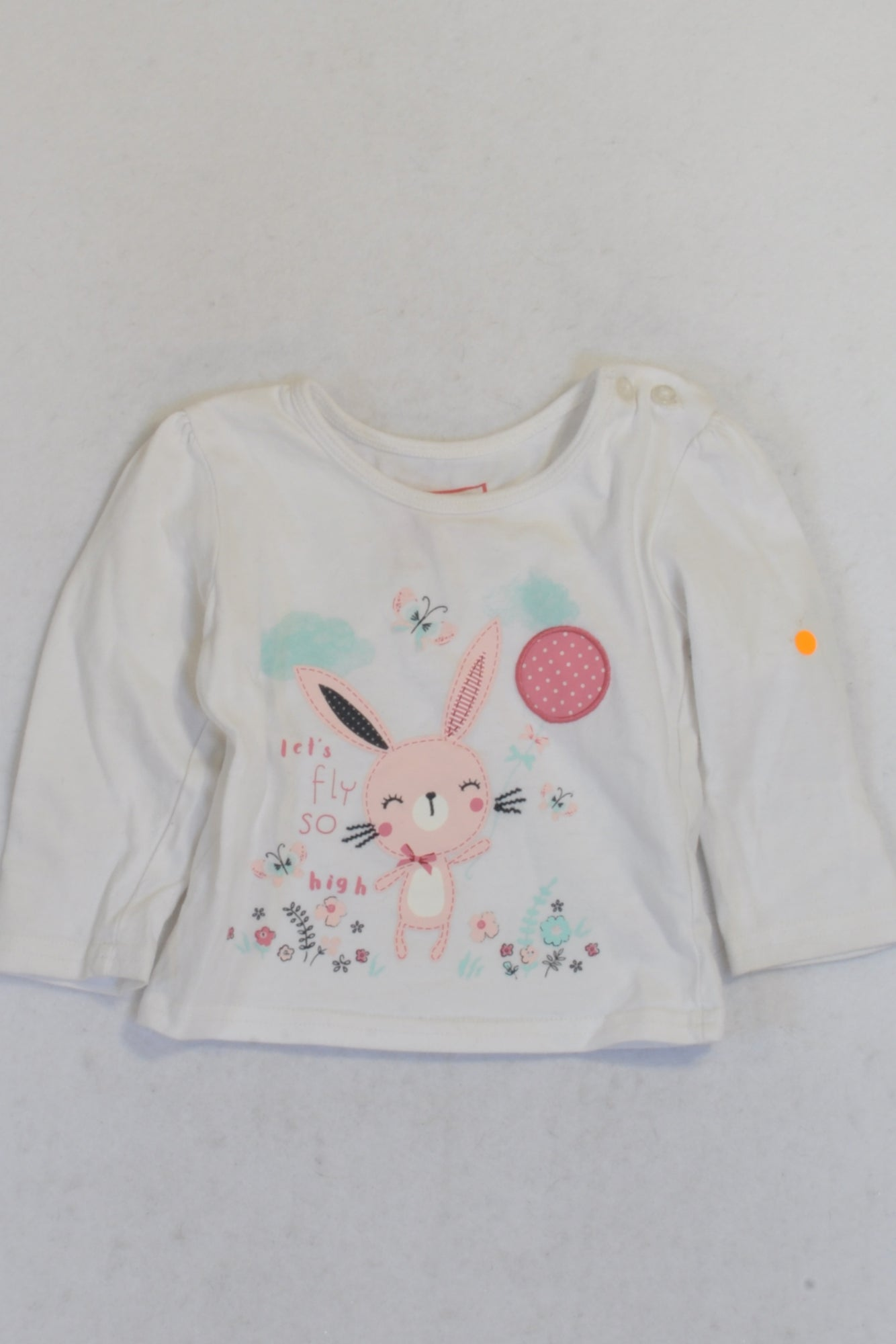 Early Days White Let's Fly High Bunny Top Girls 3-6 months