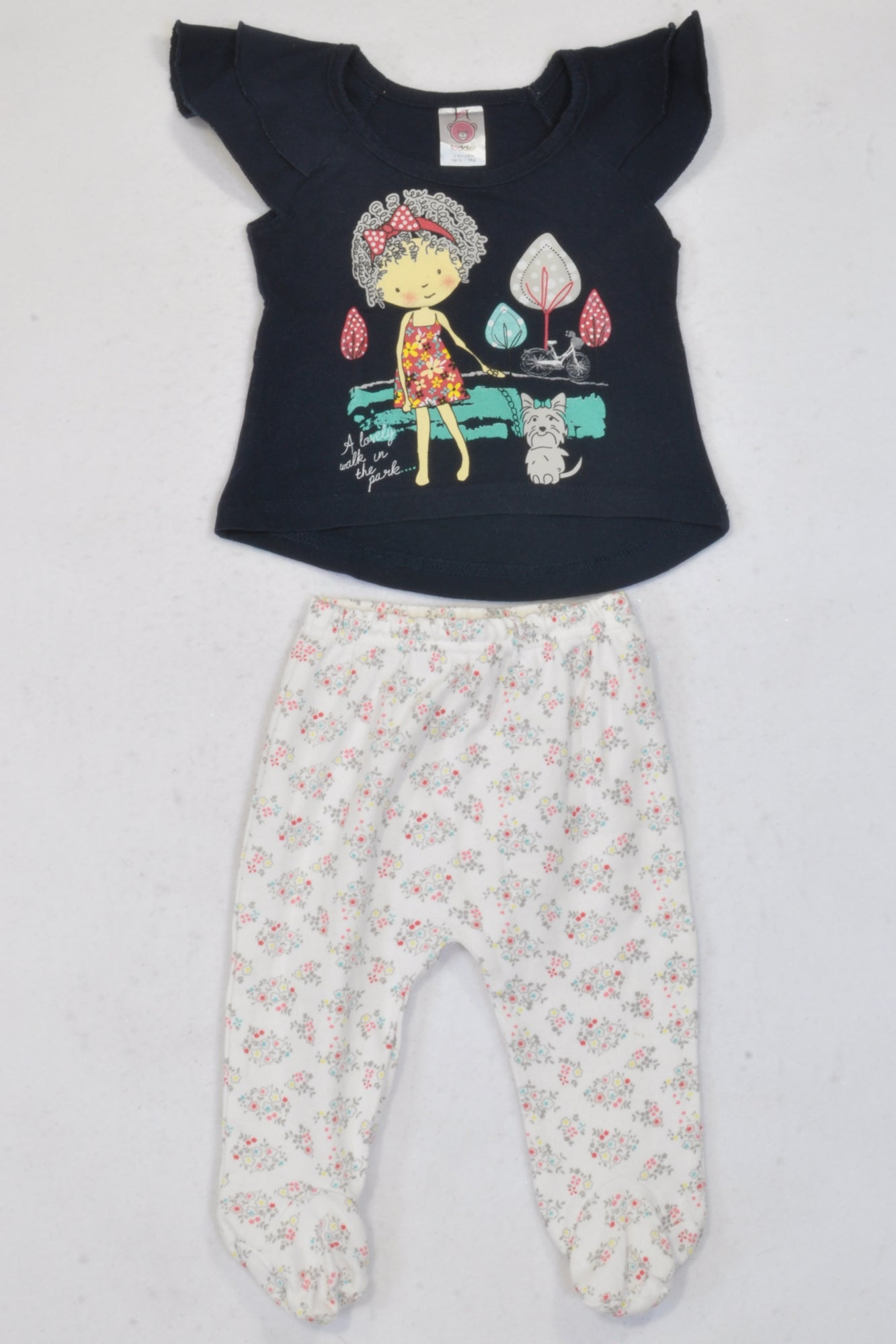 Jet Navy Girl & Dog Outfit Girls 3-6 months