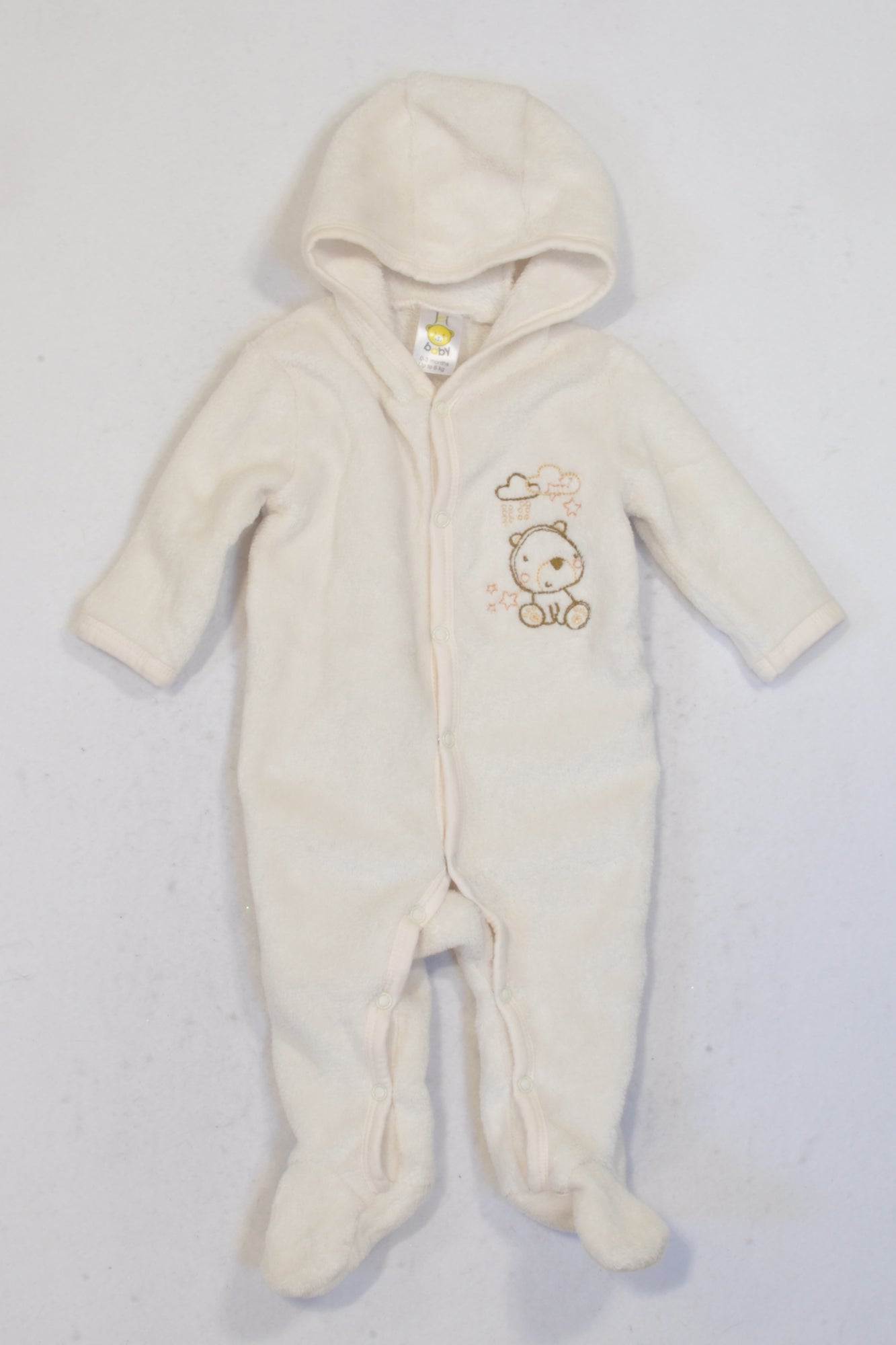 Jet Cream Hooded Bear Onesie Unisex N-B