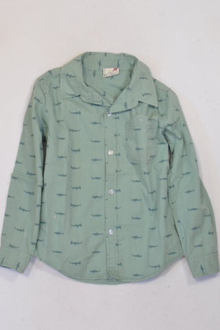 Cotton On Olive Shark  Shirt Boys 6-7 years