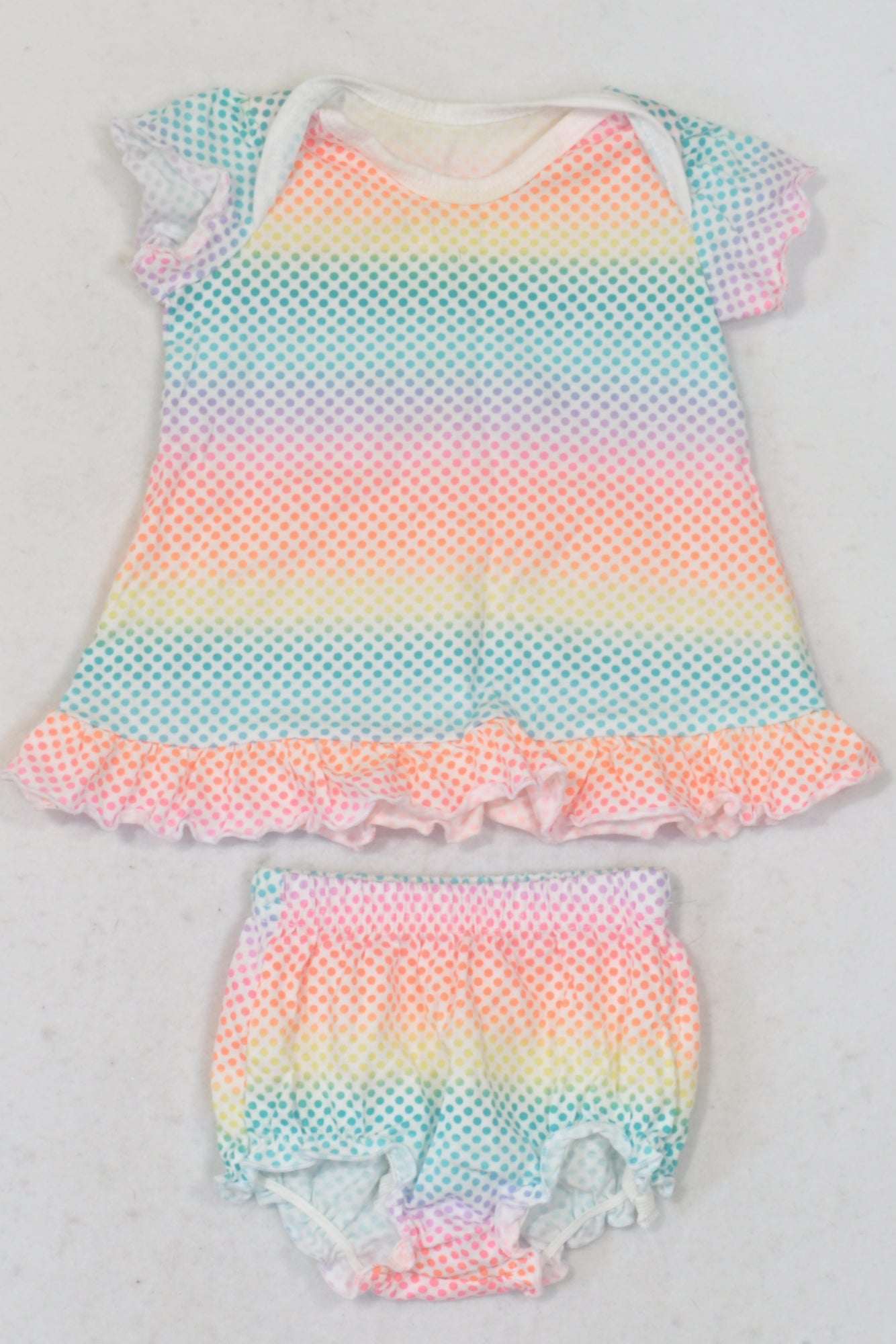 New Woolworths Multicolour Dotty Ombre Dress & Bloomer Outfit Girls 0-3 months