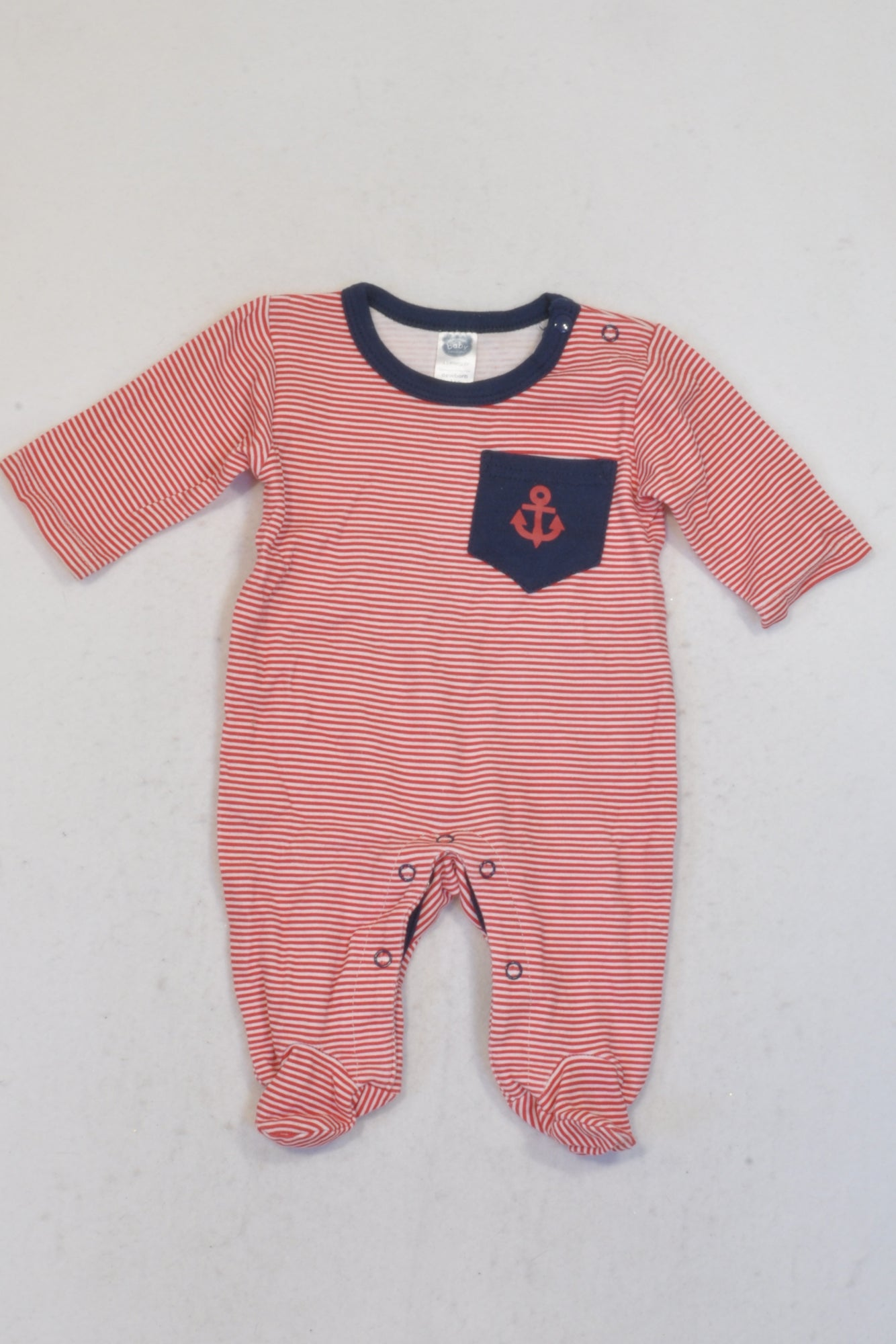 Ackermans Red & White Striped Anchor Onesie Boys N-B