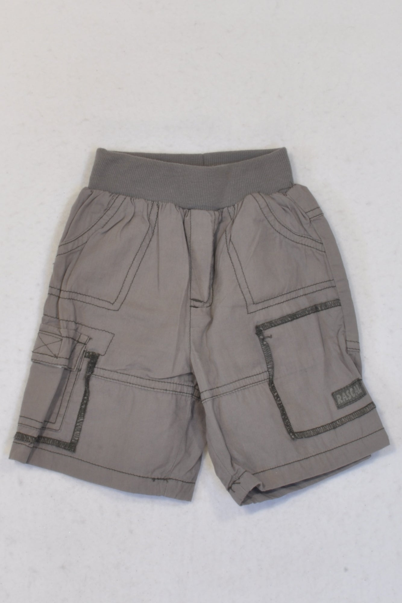 Ackermans Grey Lightweight Banded Shorts Boys 3-6 months