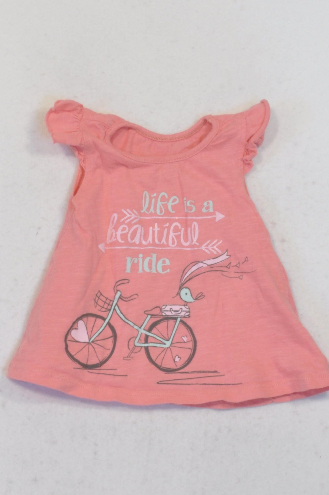 Woolworths Rose Pink Life Is A Beautiful Ride Top Girls 3-6 months