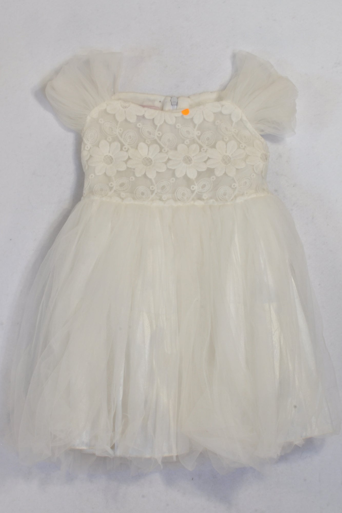 Chip's White Flower Lace Inset Tie Back Dress Girls 2-3 years