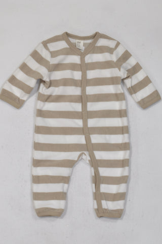 New H&M Beige & White Broad Striped Onesie Unisex 3-6 months