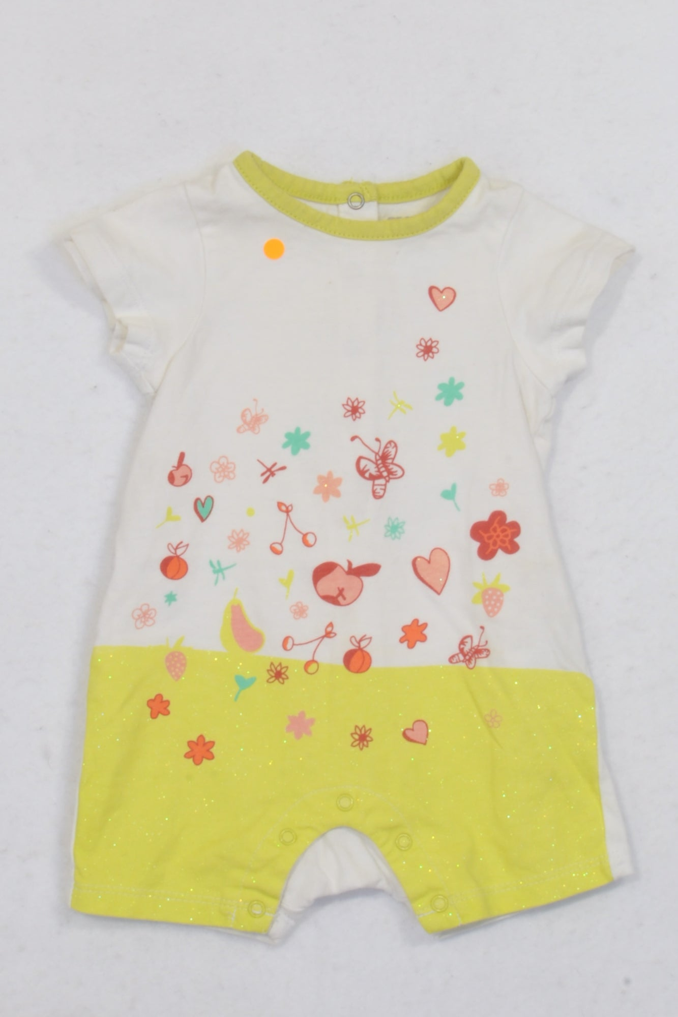 Orchestra France Off White Garden Themed Romper Girls 3-6 months
