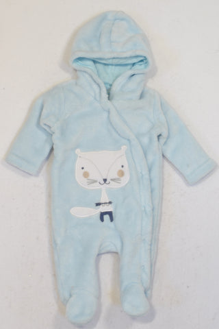 Ackermans Soft Blue Fox Fleece Onesie Boys N-B