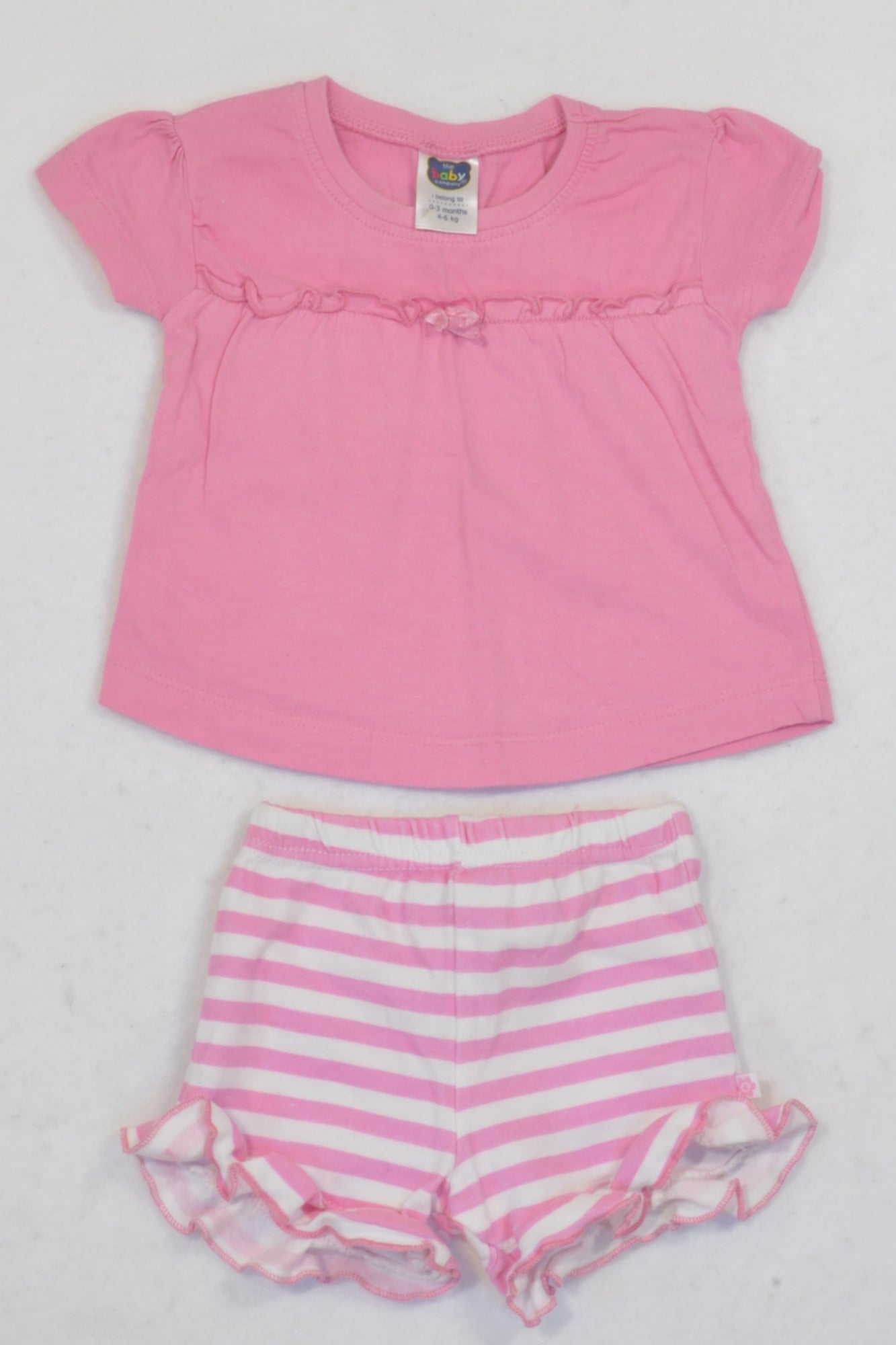 Ackermans Pink Ruffle Trim T-shirt & Shorts Outfit Girls 0-3 months