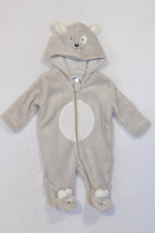 Ackermans Ivory & Grey Bear Hooded Fleece Onesie Unisex N-B