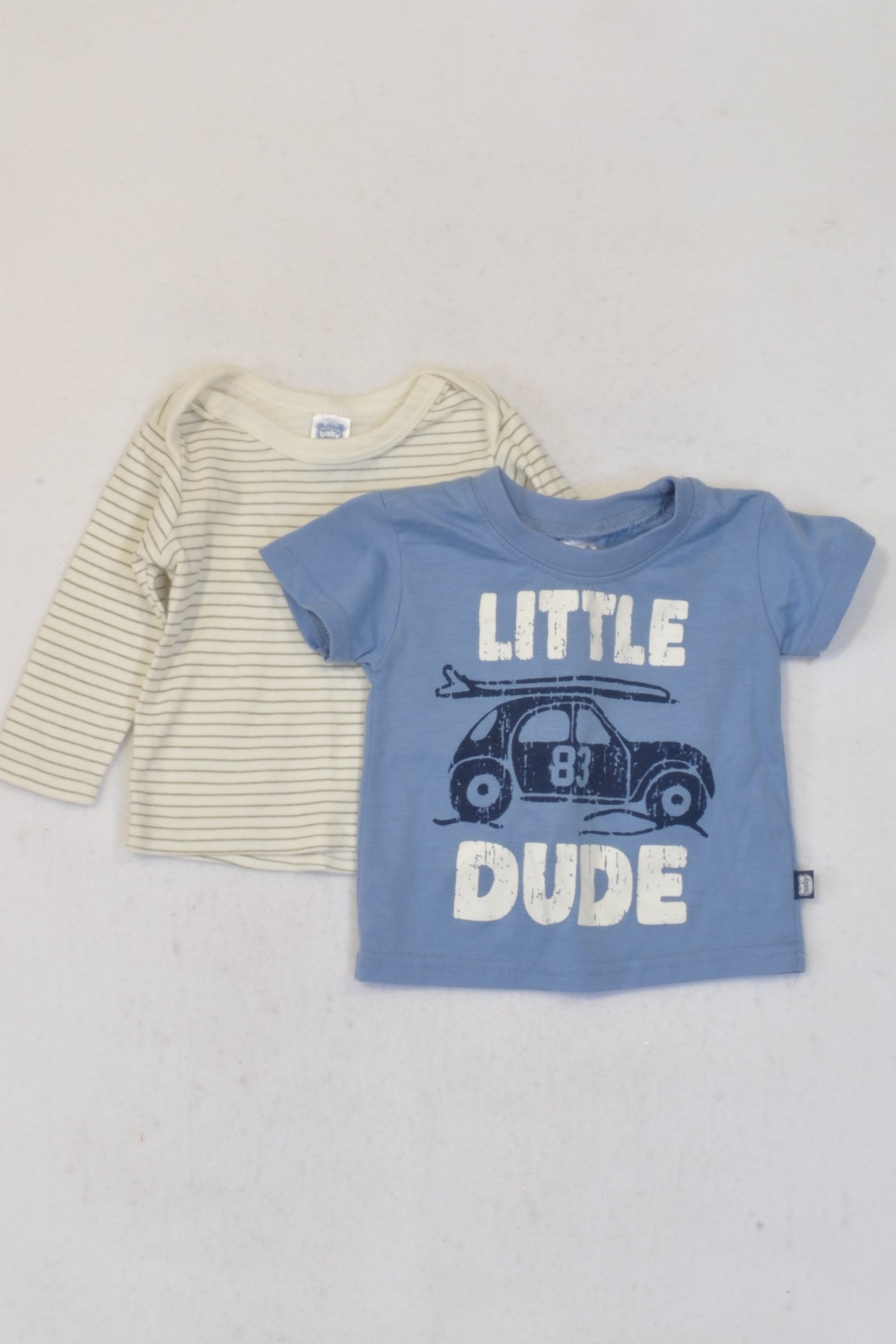Ackermans 2 Pack Little Dude & Striped T-Shirts Boys 0-3 months