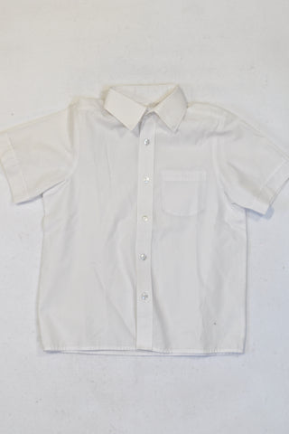 Woolworths Basic White Short Sleeve Collar Shirt 1 of 2 Boys 6-7 years