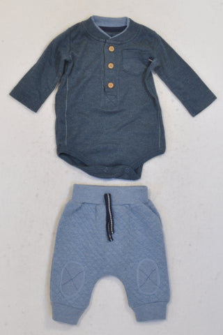 Woolworths Dark & Light Blue Outfit Boys N-B