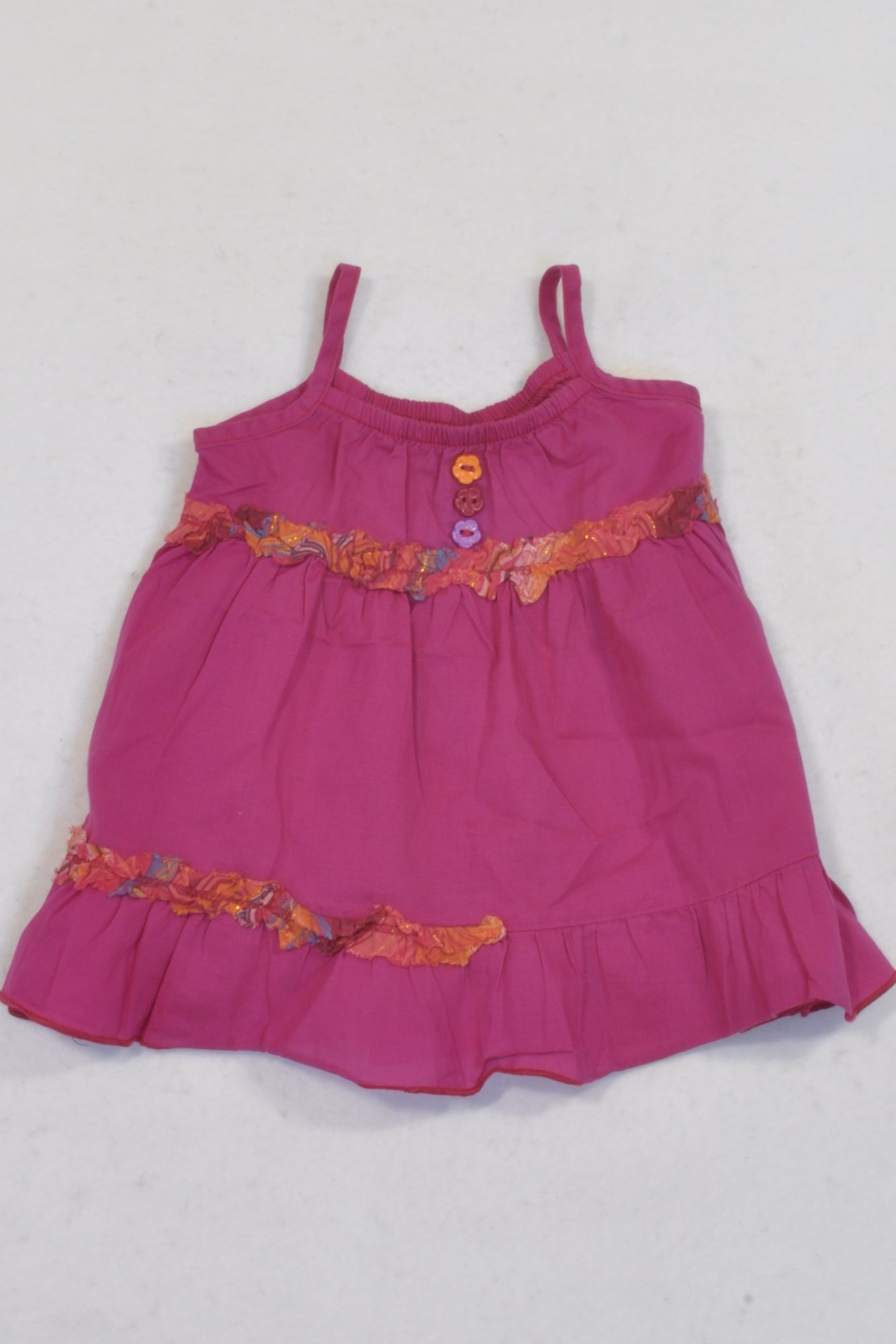 Woolworths Cerise & Orange Detail Dress Girls 0-3 months