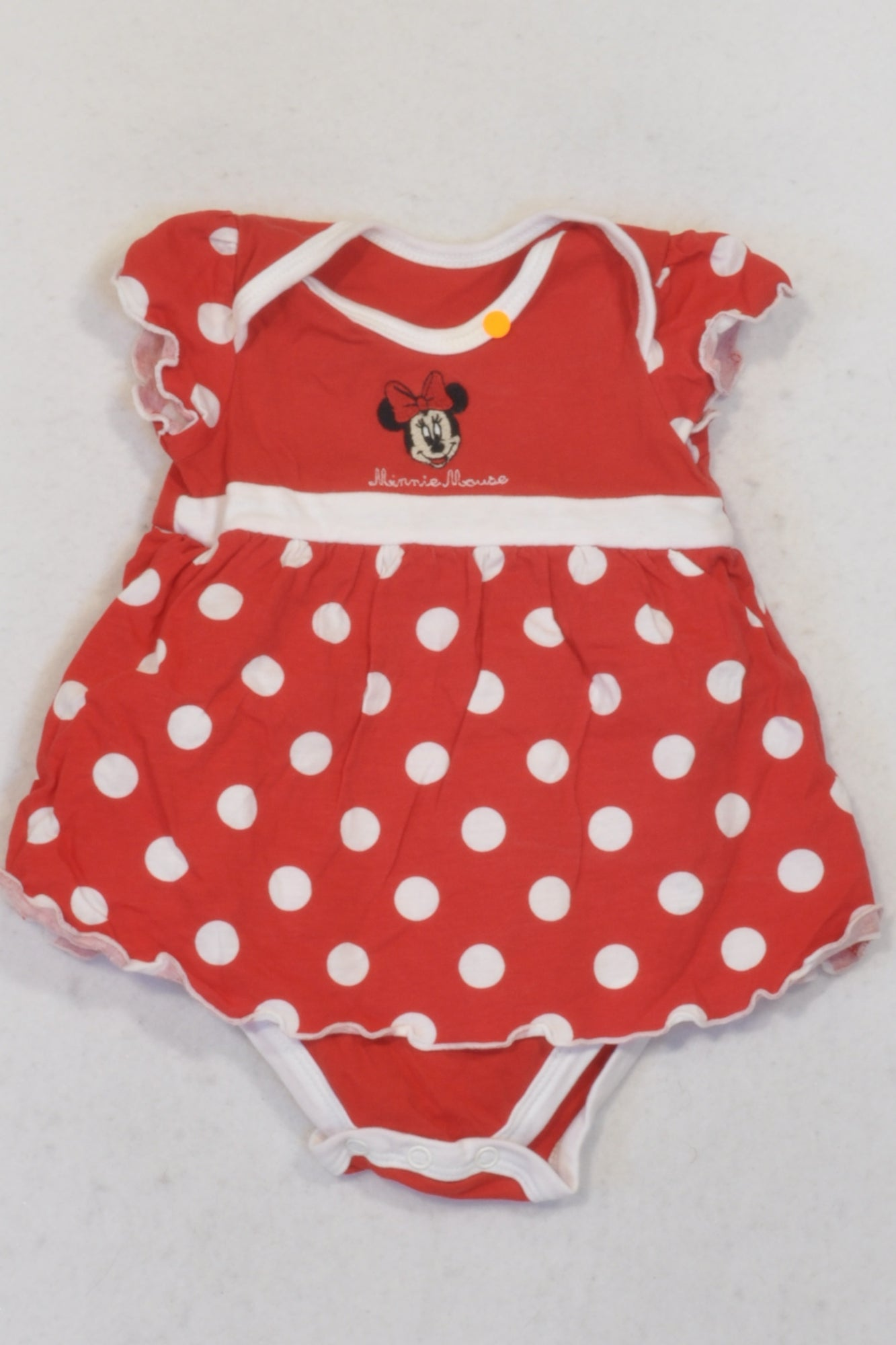 Woolworths Red Polka Dot Minnie Mouse Dress Baby Grow Girls 3-6 months