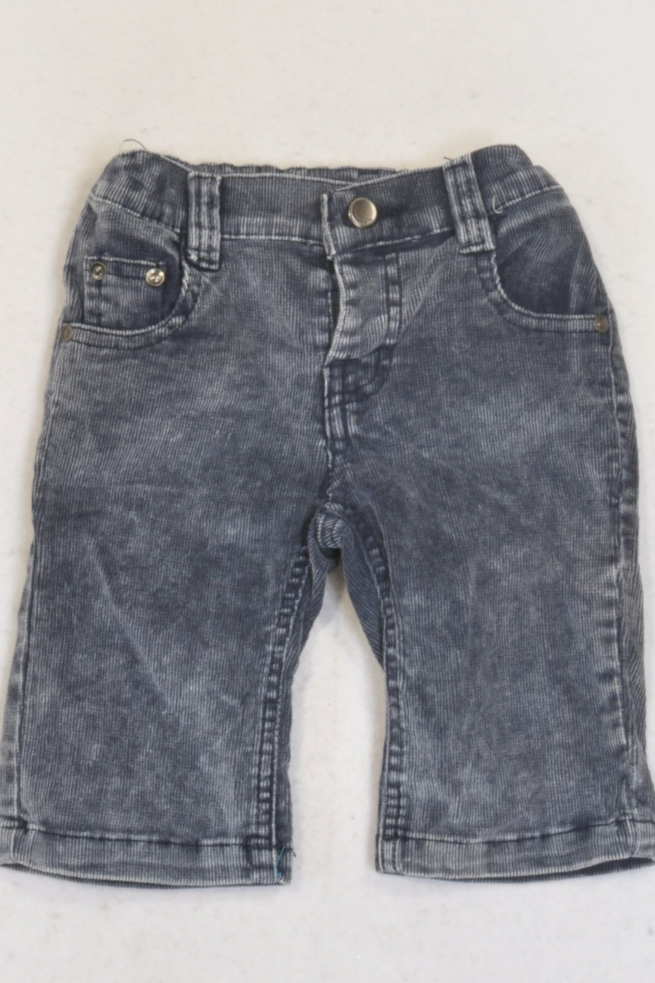 Blue & White Heathered Corduroy Pants Boys 3-6 months