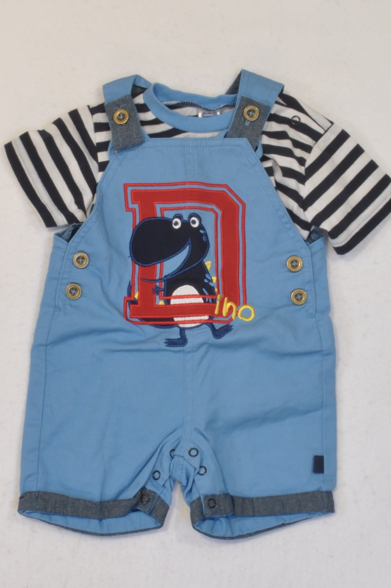 Ackermans Blue Striped Dino Dungarees Outfit Boys 0-3 months