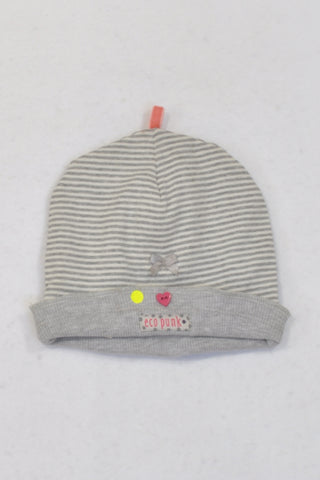 Eco Punk Grey Stripe Heart Button Beanie Girls 6-12 months