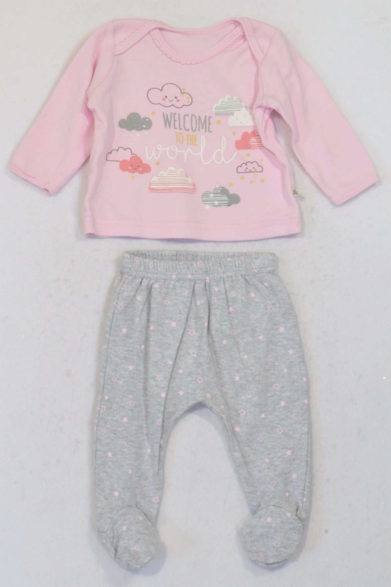 Woolworths Pink Cloud Top & Grey Footed Leggings Outfit Girls 0-3 months