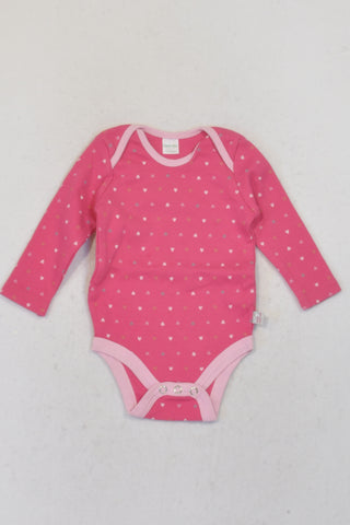 Naartjie Cerise Heart  Baby Grow Girls 3-6 months