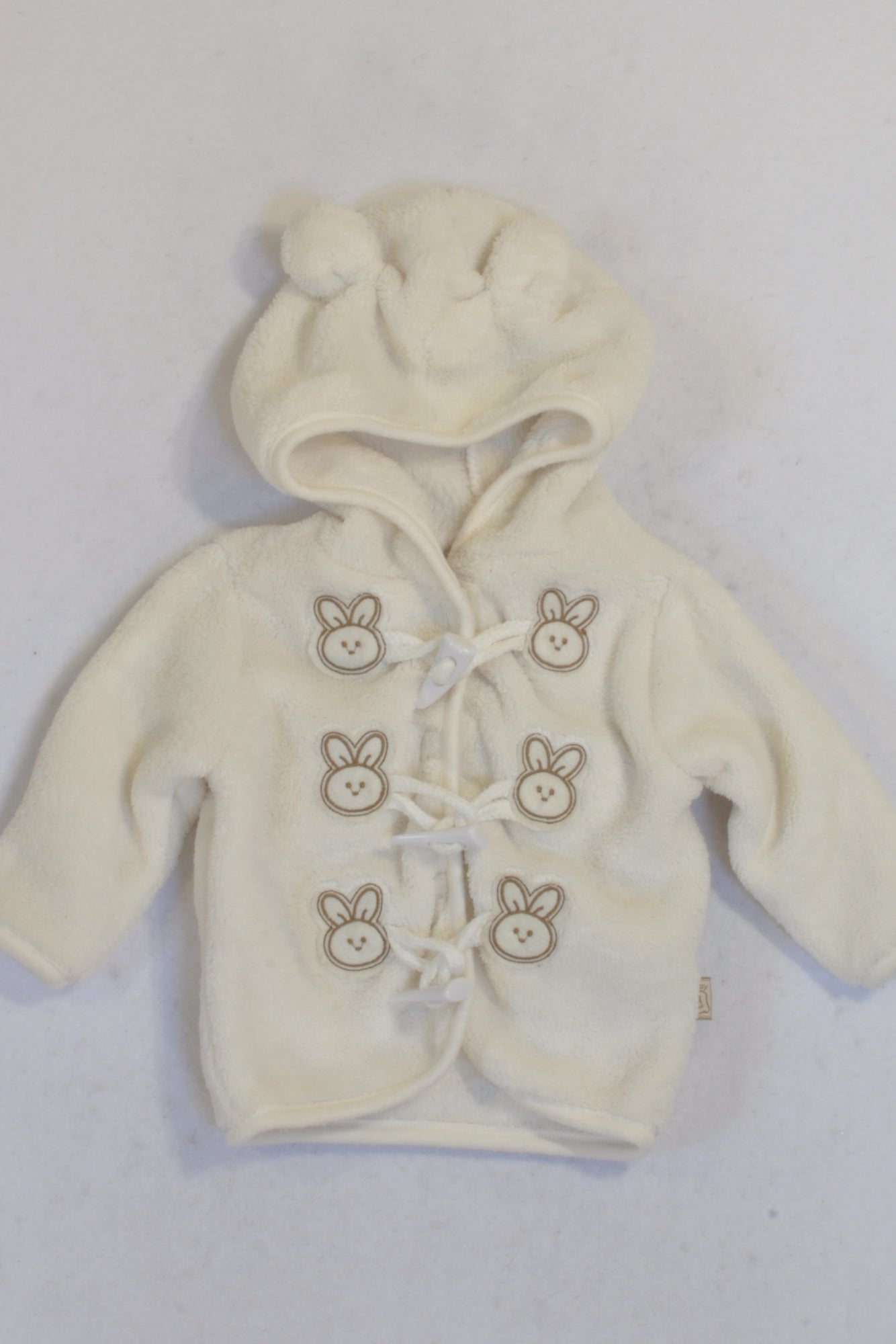Ackermans Cream Fleece Bunny Toggle Hoodie Unisex 0-3 months