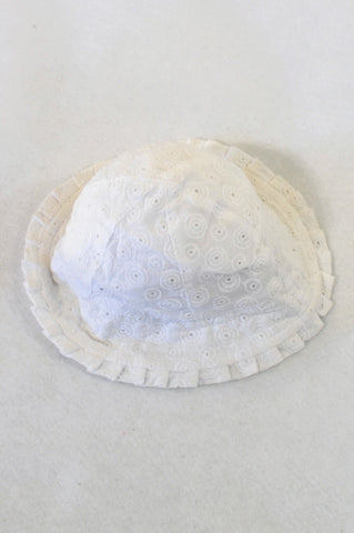 Woolworths White Textured Sun Hat Girls 0-3 months
