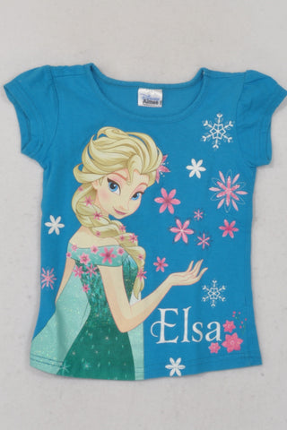 Disney Blue Elsa T-shirt Girls 3-4 years