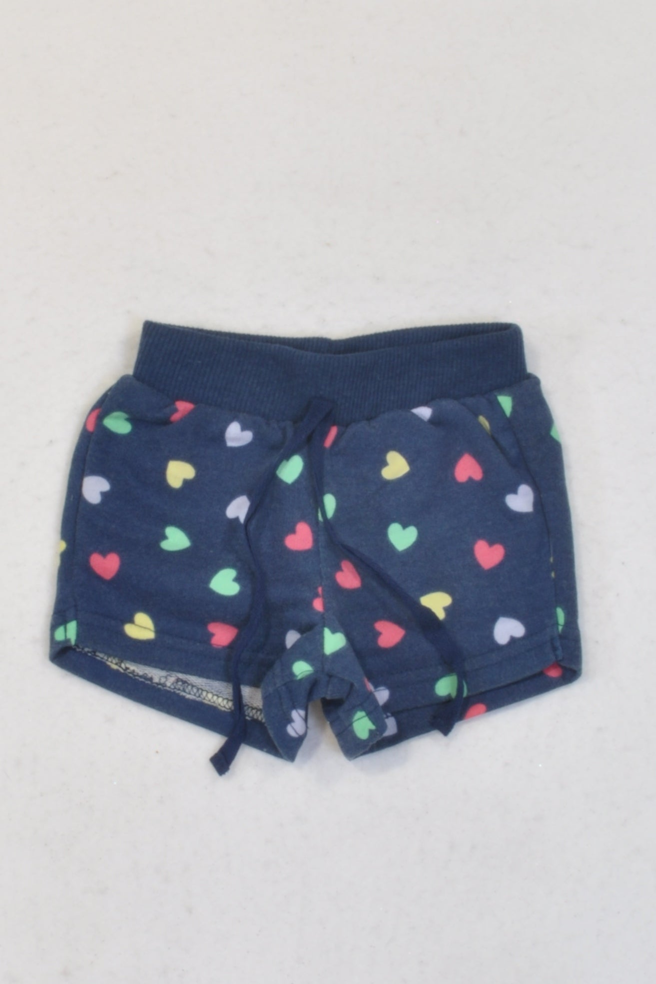 Ackermans Navy Hearts Banded Shorts Girls 3-6 months