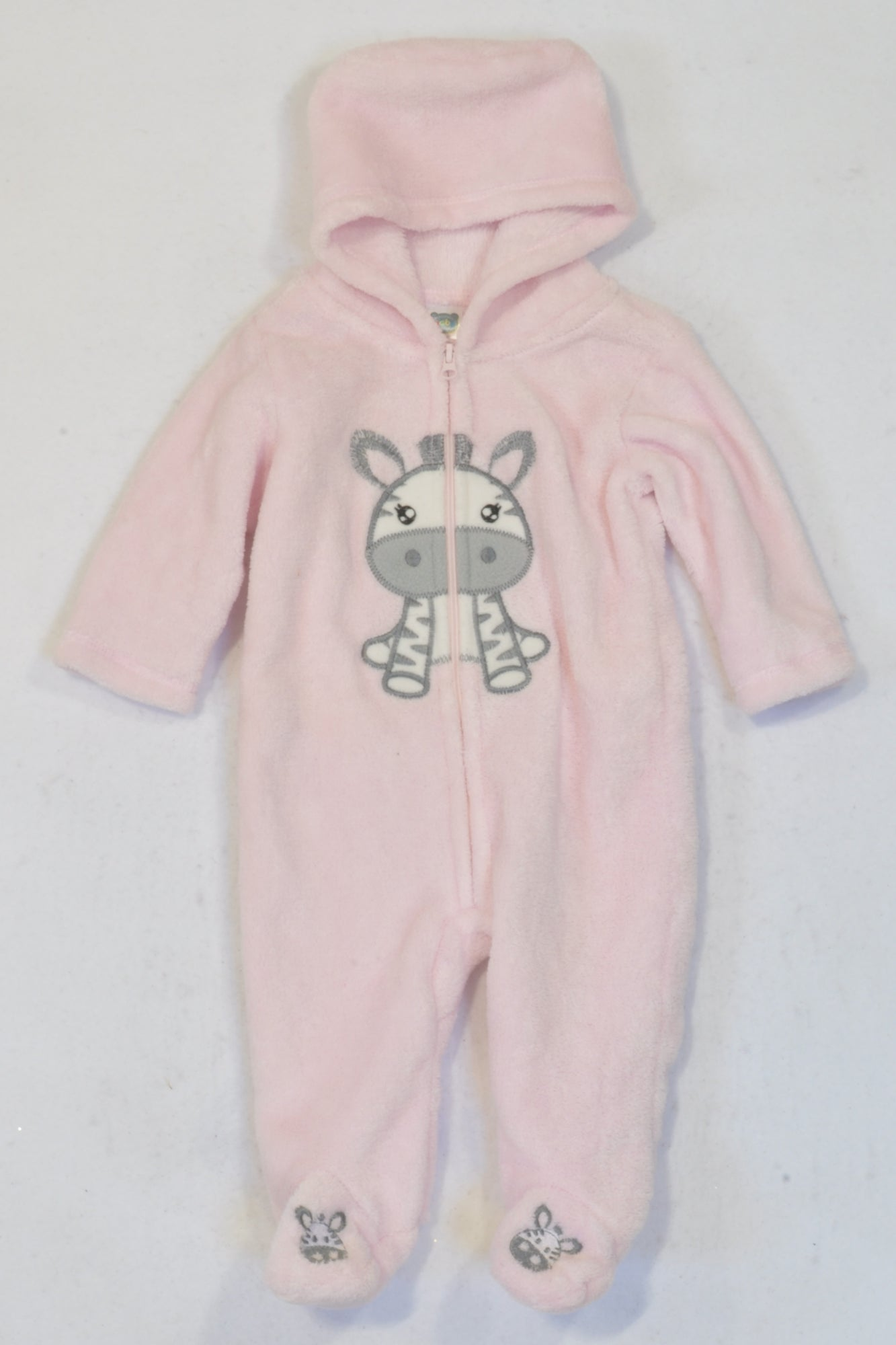 Ackermans Pink Fleece Zebra Onesie Girls 0-3 months