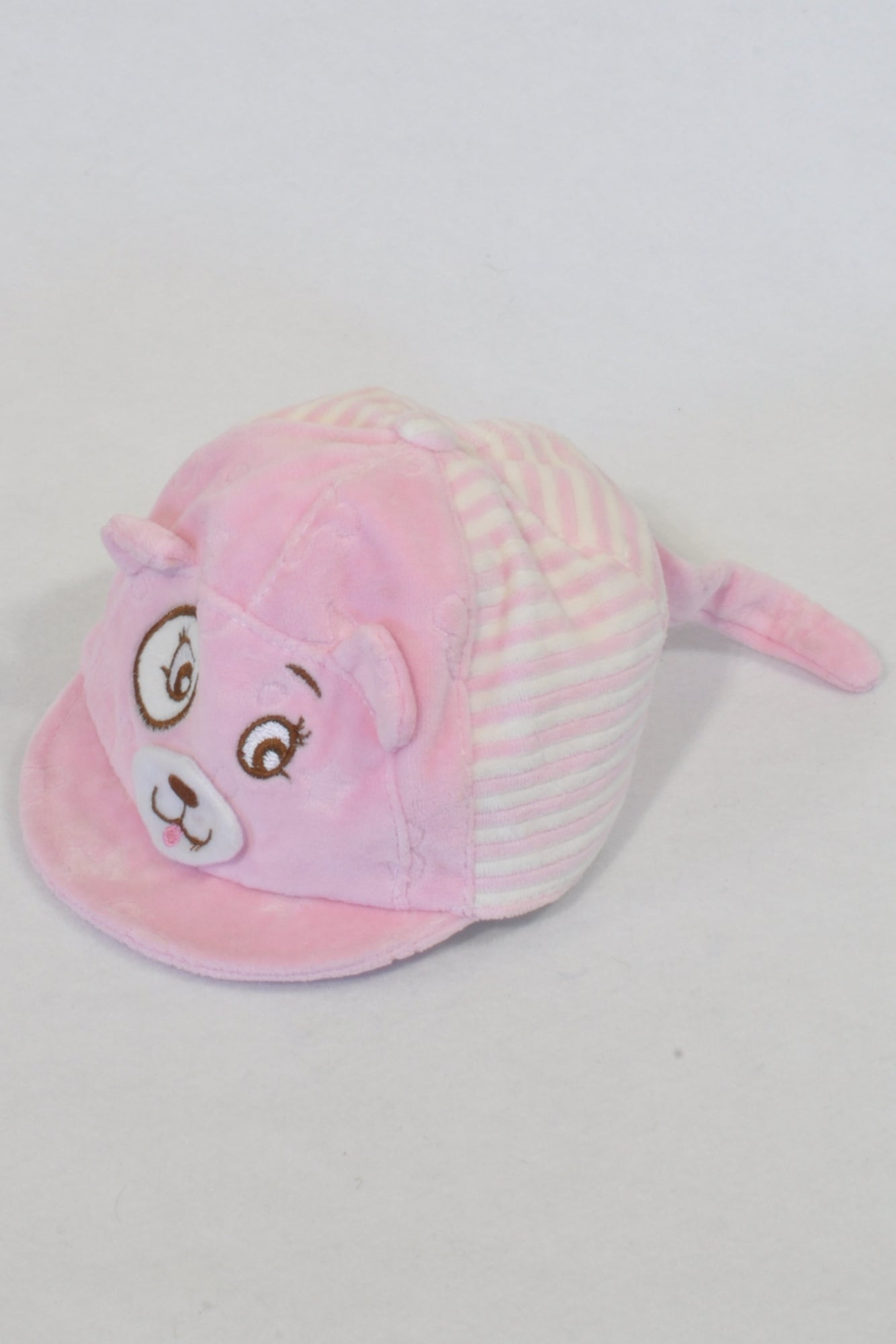 Pink Velour Bear Peak Hat Girls 3-6 months