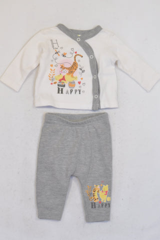 Jet Grey & White Tigger And Pooh Outfit Boys N-B
